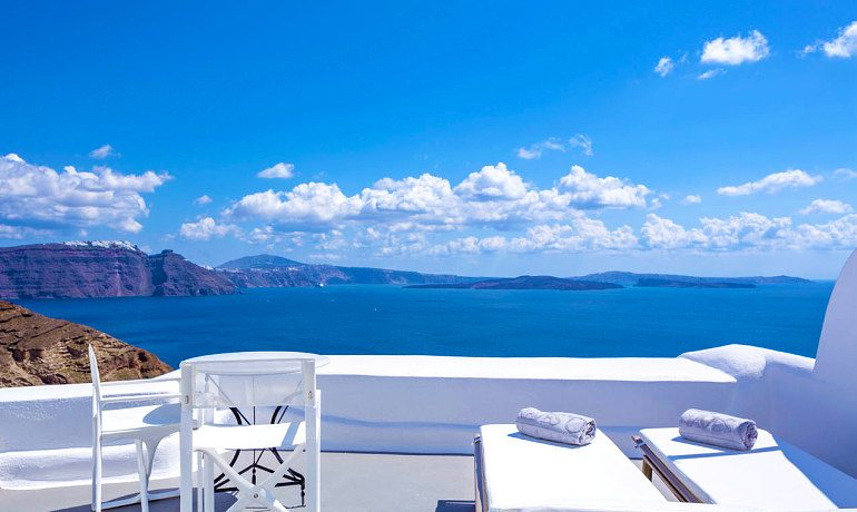Canaves Oia Hotel Honeymoon suite terrace with sea views