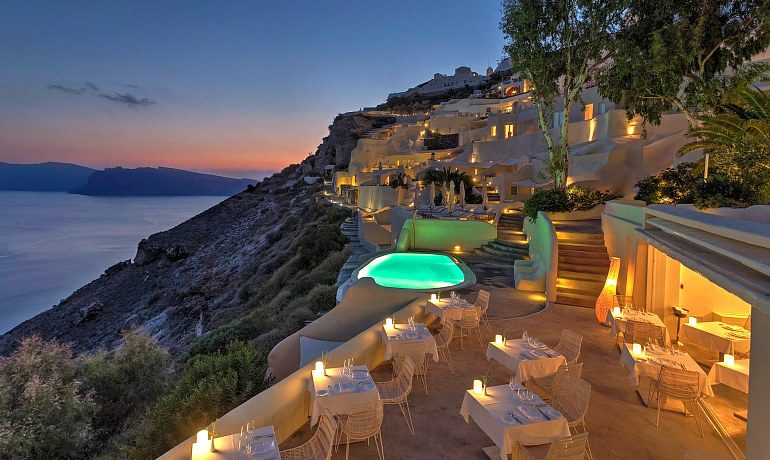 Mystique hotel Santorini Charisma restaurant at night