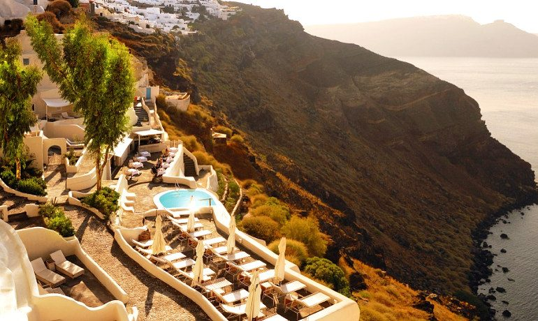 Mystique hotel Santorini general cliff view