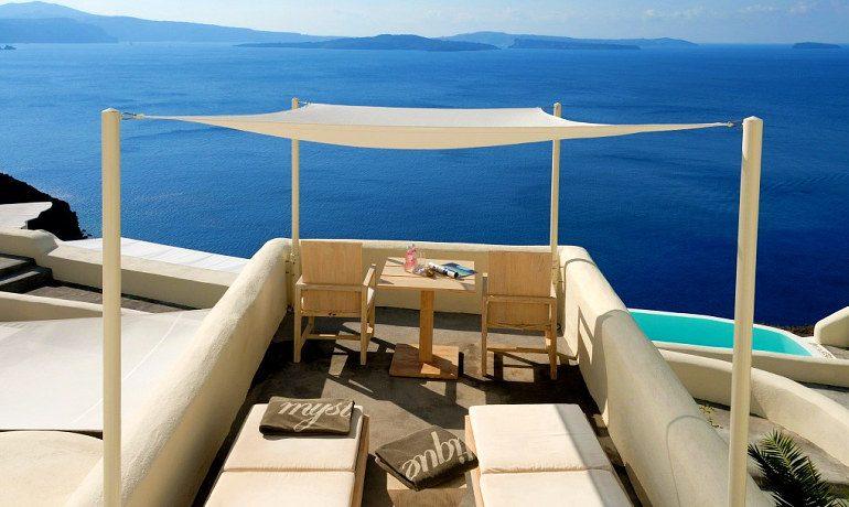 Mystique hotel Santorini vibrant suites terrace