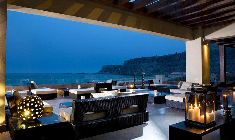 The Aquagrand of Lindos Zen bar with view to Aegean sea