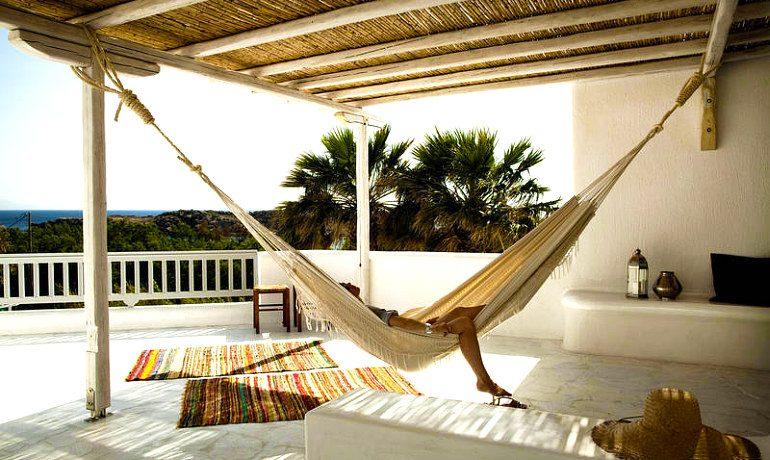 San Giorgio hotel Mykonos Famosa suite veranda with hammock