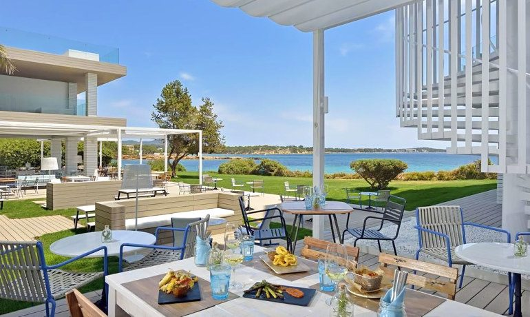 Sol Beach House Ibiza buffet restaurant terrace with sea view