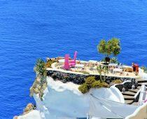 Romantic dinner on the cliff in Santorini