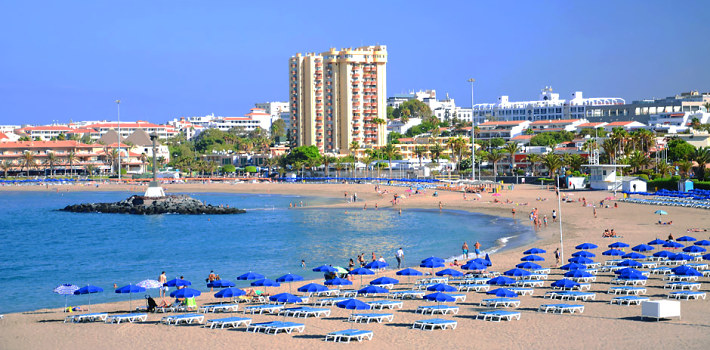 Los Cristianos resort beach in Tenerife