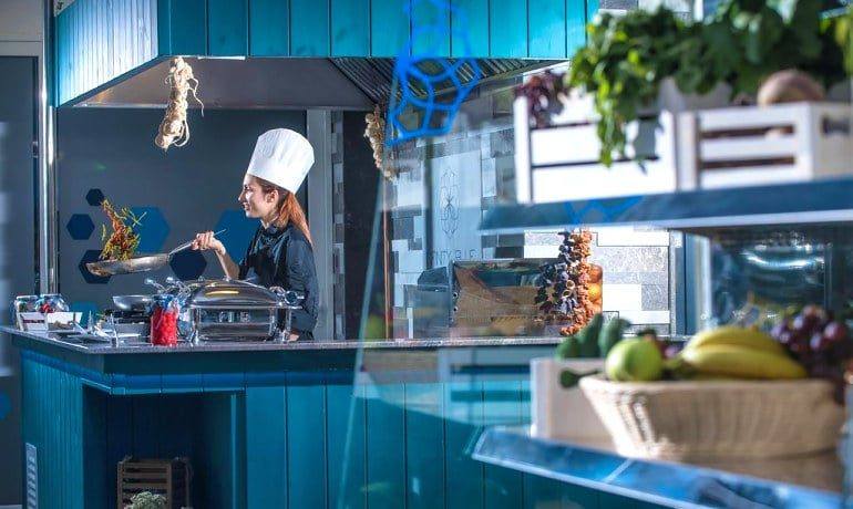 Infinity Blue Boutique Hotel & Spa Open kitchen